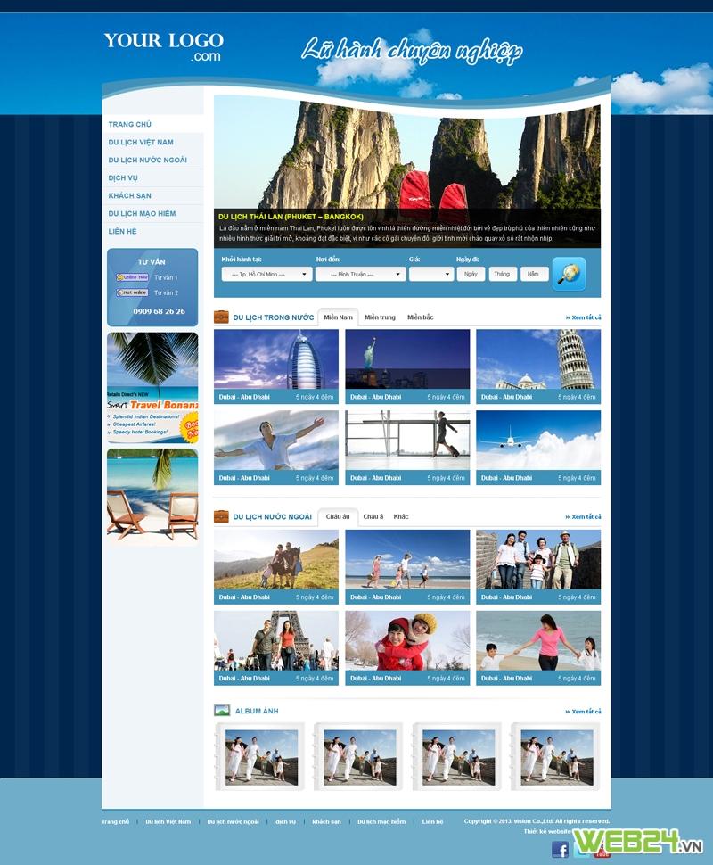 Web du lịch nữ  hành chuyên nghiệp