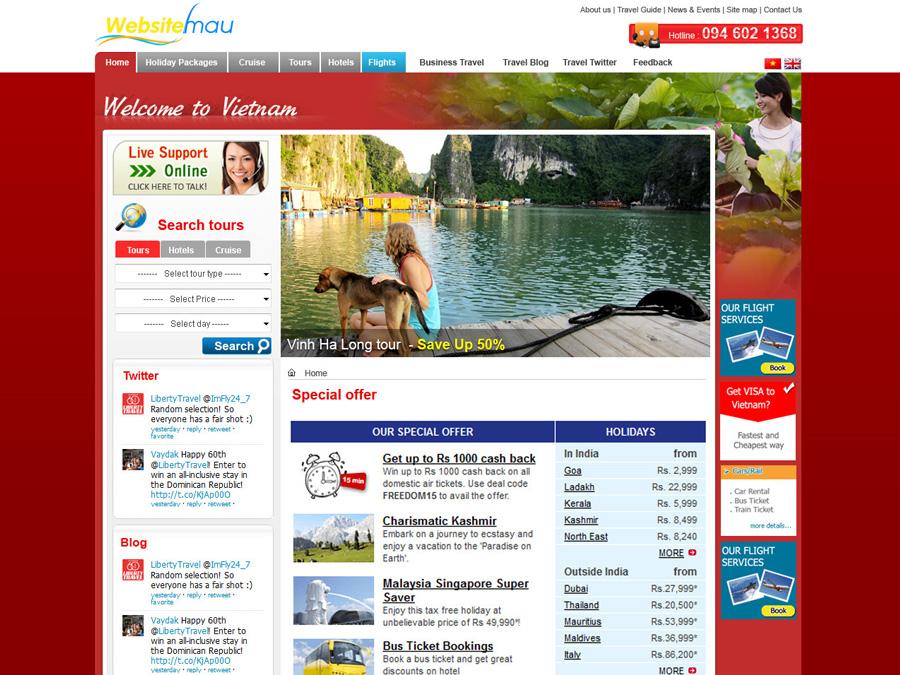 WEb du lịch đặt tour Việt Nam
