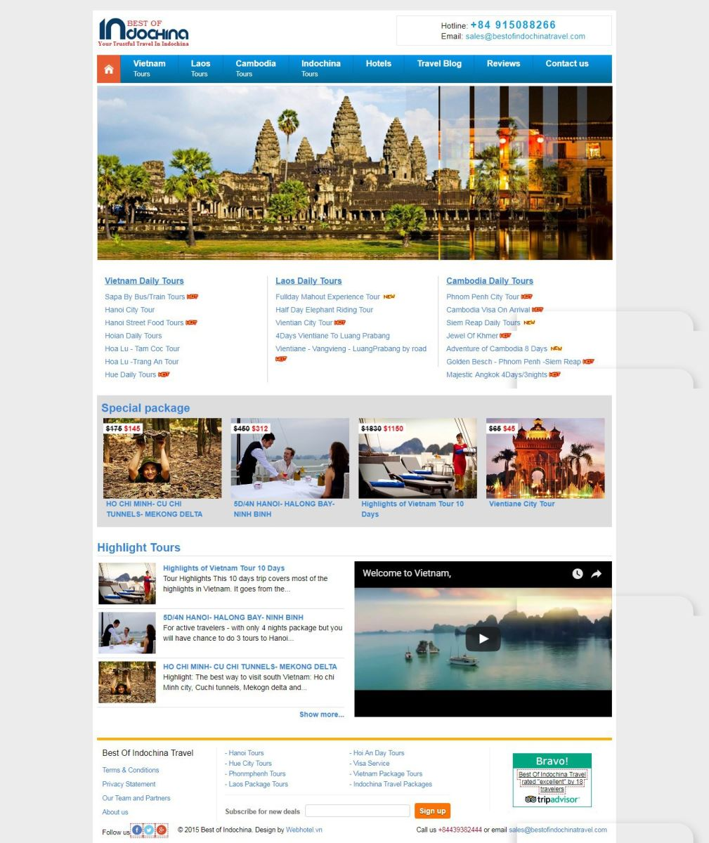 Web du lịch quốc tế indochina