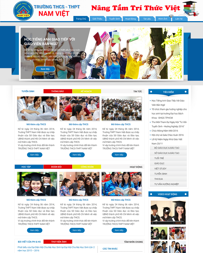Thiết kế web trường học THCS