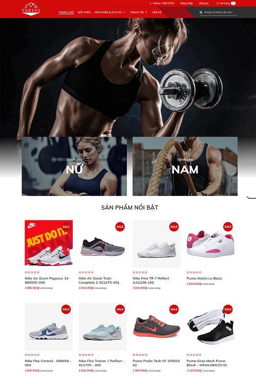 Website bán hàng dụng cụ tập gym