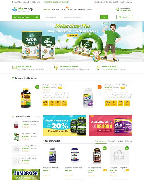 Web bán hàng thực phẩm chức năng cho trẻ nhỏ - pharmacy
